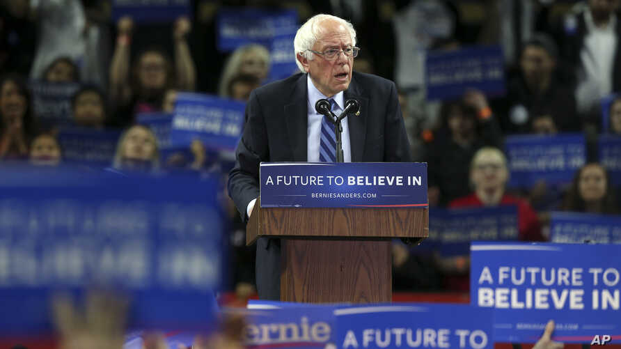 Democratic presidential candidate, Sen. Bernie Sanders, I-Vt., speaks at a campaign rally in Piscataway, New Jersey, May 8, 2016. Democratic presidential front-runner Hillary Clinton sought to avoid primary losses in Kentucky and Oregon on Tuesday, a