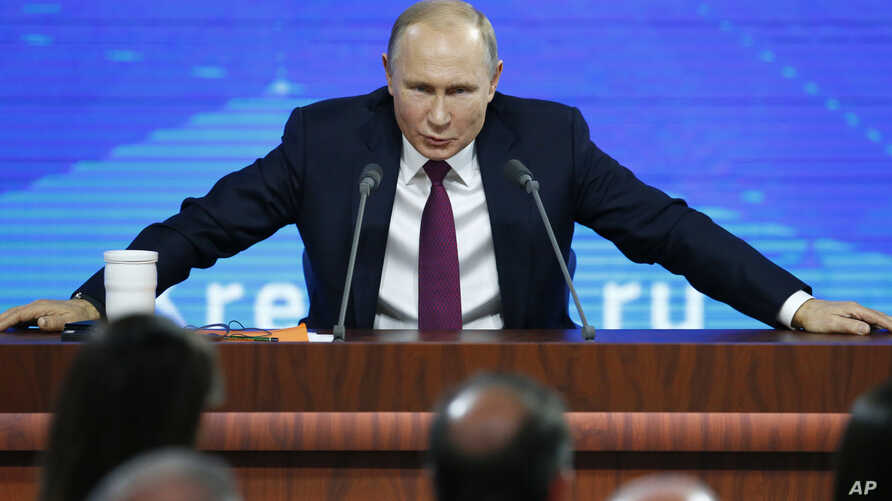 Russian President Vladimir speaks during his annual news conference in Moscow, Russia, Dec. 20, 2018.