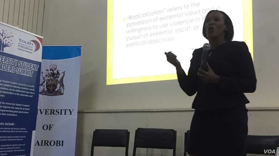 Linda Ochiel, commissioner of Kenya's National Cohesion and Integration Commission, speaks to about 60 students from institutions around Kenya on the topic of radicalization during the University Student Leaders Summit, held at the University of Nair