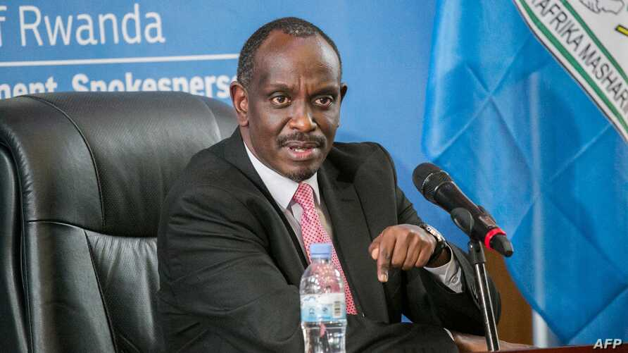 Rwanda's Minister of Foreign Affairs Richard Sezibera speaks during a press conference in Kigali on March 5, 2019.