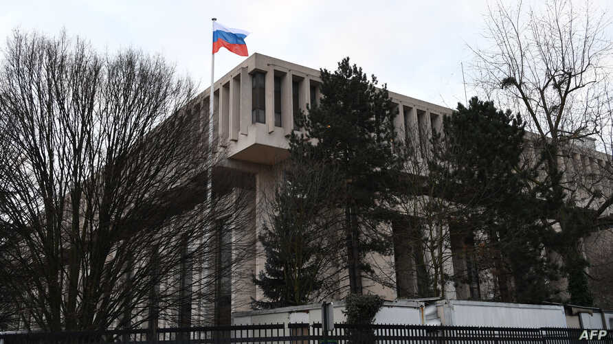 FILE - A general view of the embassy of the Russian Federation in Paris,  Feb. 14, 2017.