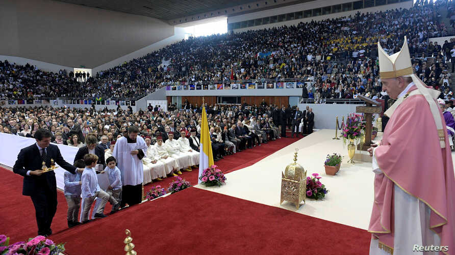 Pope Francis holds a mass at Prince Moulay Abdellah sports complex in Rabat, Morocco, March 31, 2019.