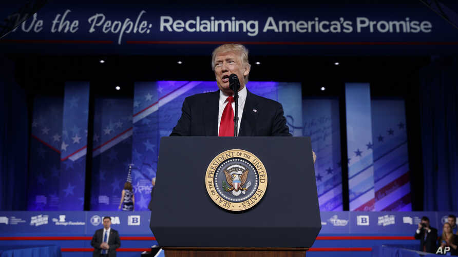 President Donald Trump speaks at the Conservative Political Action Conference (CPAC), Feb. 24, 2017, in Oxon Hill, Md.