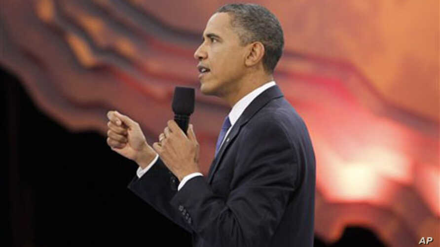 President Barack Obama participates in a youth town hall event broadcast live on BET, CMT and MTV networks, in Washington, 14 Oct 2010