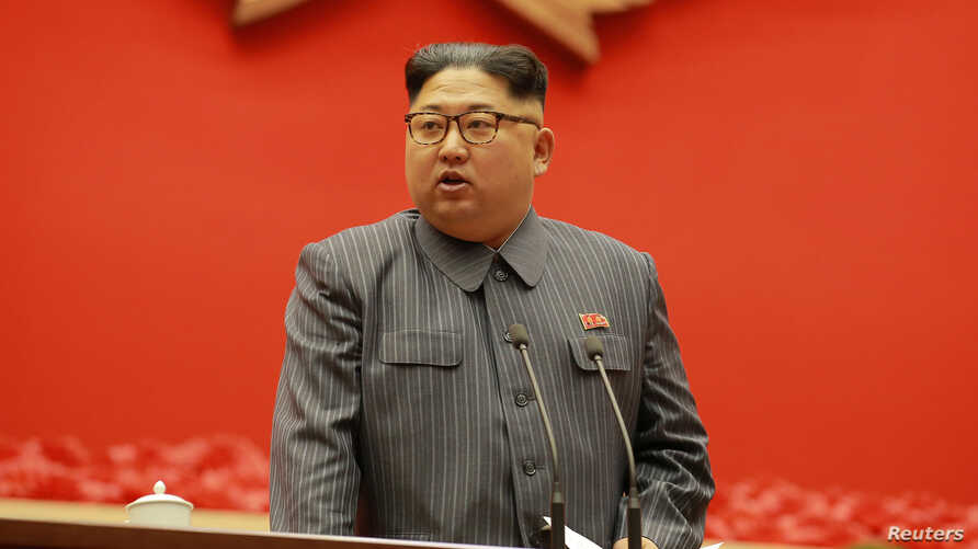 North Korean leader Kim Jong Un makes closing remarks at 5th Conference of Cell Chairpersons of the Workers' Party of Korea (WPK), Dec. 23 in this photo released by North Korea's Korean Central News Agency (KCNA) in Pyongyang, North Korea, Dec. 24, 2