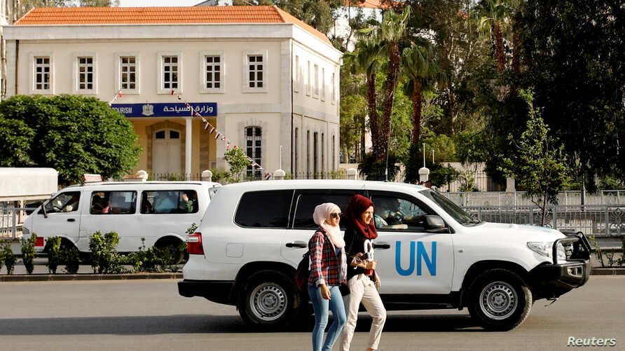 The United Nation vehicle carrying the Organization for the Prohibition of Chemical Weapons (OPCW) inspectors is seen in Damascus, Syria, April 17, 2018.