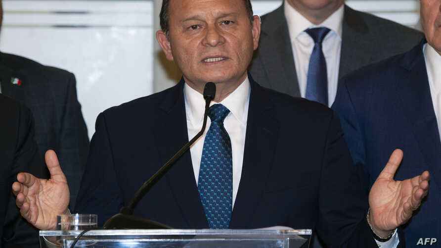 """Peru's Foreign Affairs Minister Nestor Popolizio delivers a speech during the closing of the meeting of the """"Lima Group,"""" which includes Canada and most of Latin America's top powers, to assess the current situation in Venezuela, in Lima on Jan. 4, 2"""