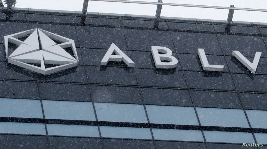 A logo of the ABLV Bank is pictured in Riga, Latvia, Feb. 18, 2018.
