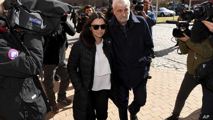 Marcela Topor, wife of former Catalan leader Carles Puigdemont, arrives at the prison in Neumuenster, northern Germany, April 4, 2018 where former Catalan leader Carles Puigdemont is detained.
