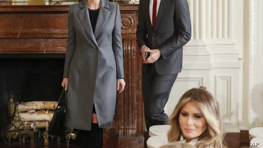 FILE - Ivanka Trump, daughter of President Donald Trump and her husband, senior adviser Jared Kushner, arrive in the East Room of the White House in Washington, Feb. 15, 2017.