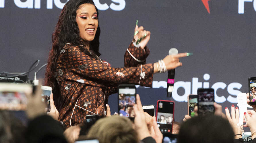 Cardi B performs on stage at the 2019 Fanatics Super Bowl Party, Feb. 2, 2019, in Atlanta.