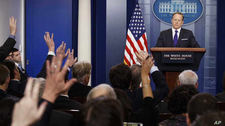 White House press secretary Sean Spicer listens to a question during the daily press briefing, March 30, 2017, at the White House in Washington. (
