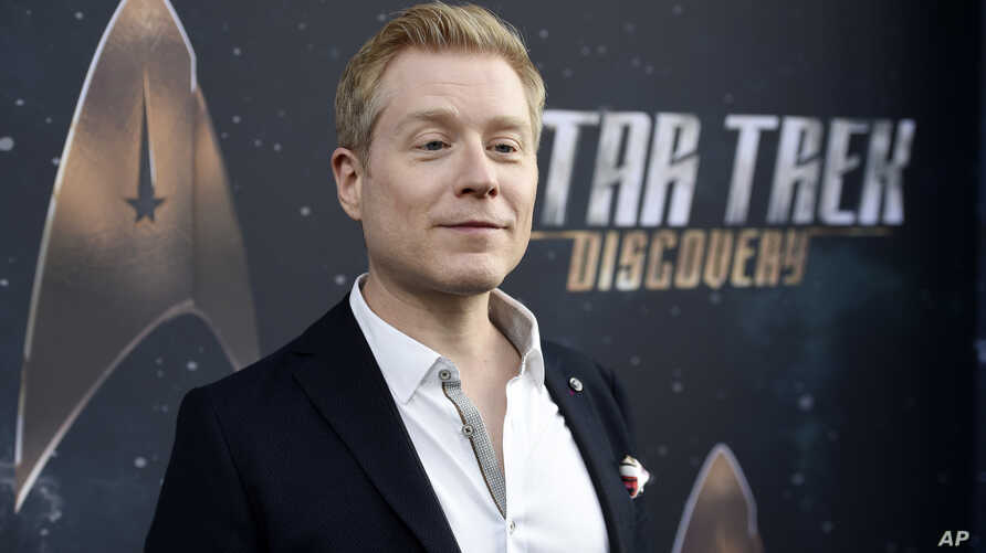 """FILE - Anthony Rapp, cast member in """"Star Trek: Discovery,"""" poses at the premiere of the new television series in Los Angeles, Sept. 19, 2017."""