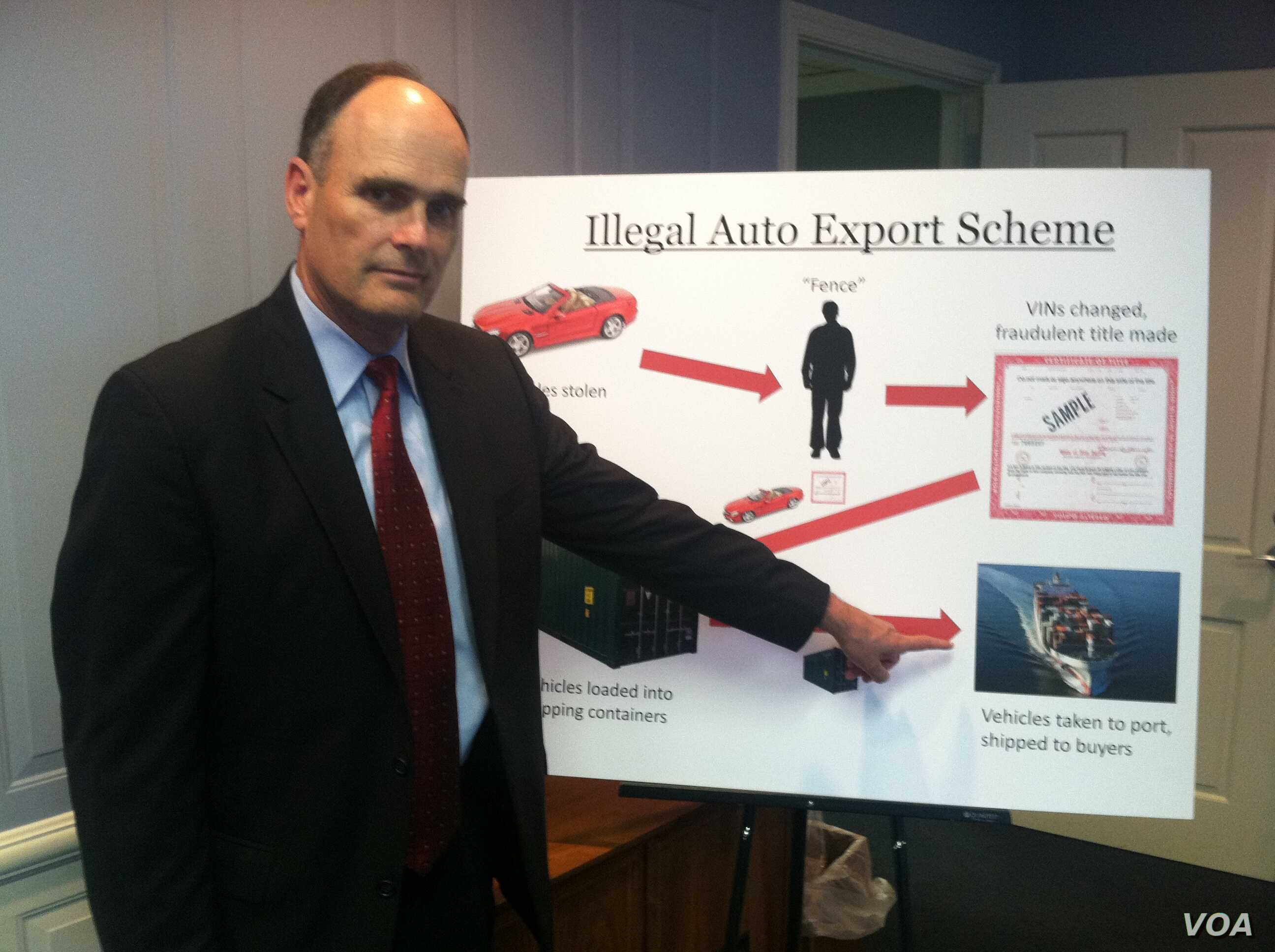 IAssistant U.S. Attorney Gilmore Childers outlines the way the international car theft and export ring worked, May 23, 2012. (A. Phillips/VOA)