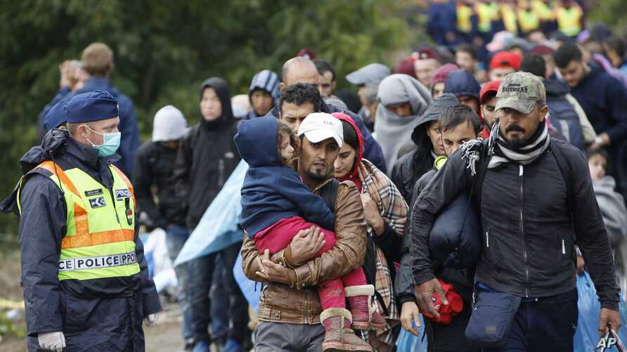Group of migrants walk to board a train at a station near the village of Zakany, Hungary, Sept. 24, 2015.