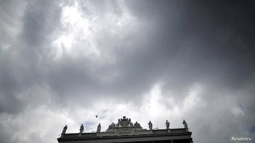 Dark clouds are seen over Palais Coburg hotel where the Iran nuclear talks meetings are being held in Vienna, Austria, July 9, 2015.