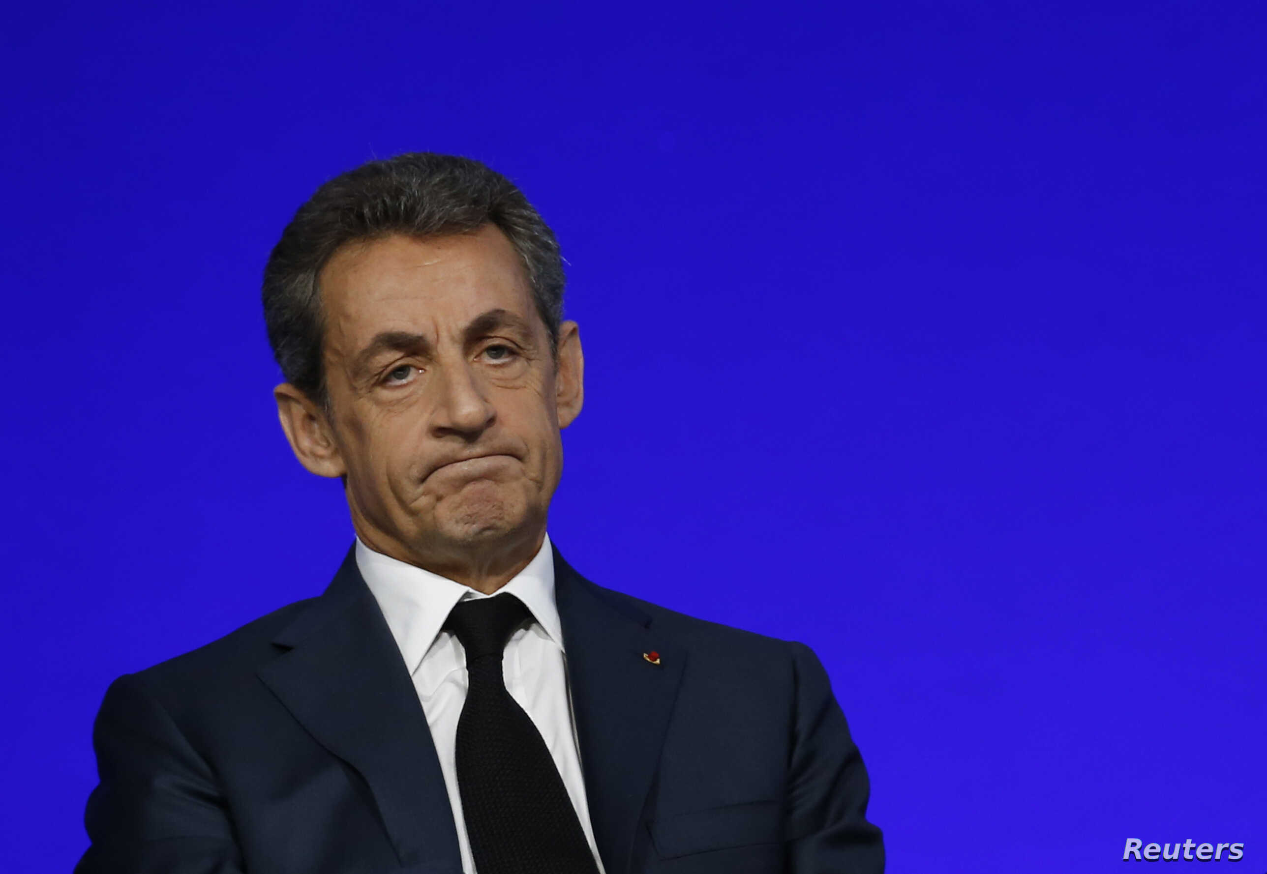 Nicolas Sarkozy, head of France's Les Republicains political party and former French President, speaks on the second day of his party's national council in Paris, France, Feb. 14, 2016.