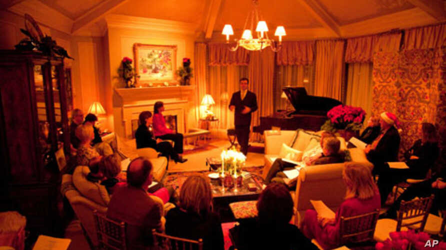 Concert pianist Kimball Gallagher at one of the salons where he often performs Chopin.
