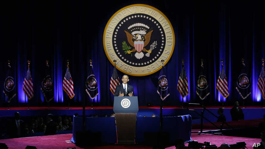 President Barack Obama speaks at McCormick Place in Chicago, Jan. 10, 2017, giving his presidential farewell address.
