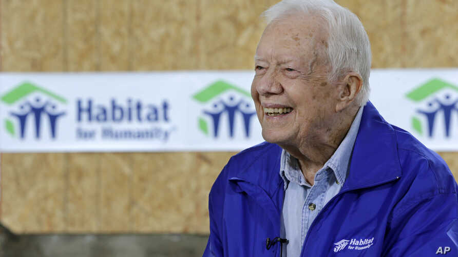 Jimmy CarterFormer President Jimmy Carter is seen being interviewed at a Habitat for Humanity project site in Memphis, Tennessee, Nov. 1, 2015.