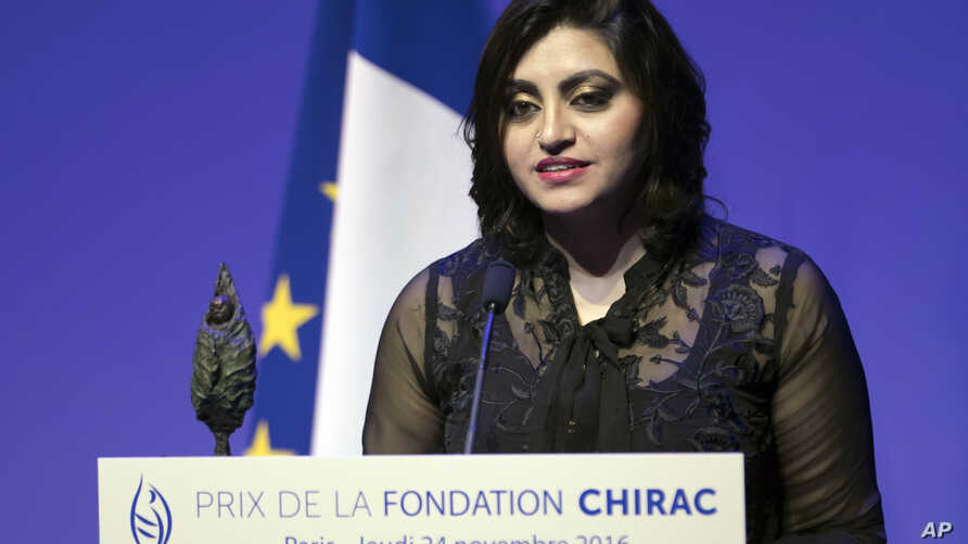 Pakistan's Gulalai Ismail delivers an acceptance speech after being awarded the Prize for Conflict Prevention for the work of her organization Aware Girls promoting women's issues and equality in Pakistan, during the award ceremony of the Jacques Ch