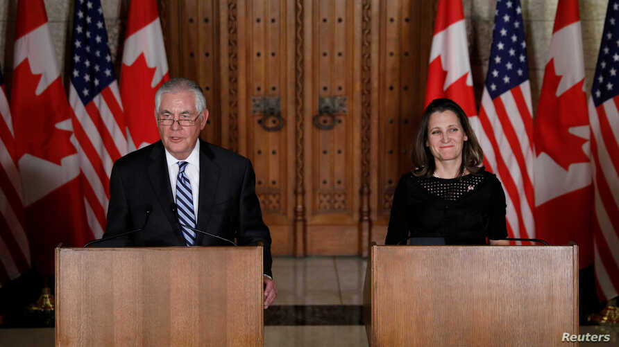 U.S. Secretary of State Rex Tillerson and Canada's Foreign Minister Chrystia Freeland take part in a news conference on Parliament Hill in Ottawa, Ontario, Dec. 19, 2017.