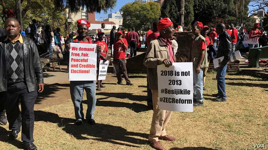 Members of the Movement for Democratic Change Alliance are planning to protest July 25, 2018, in Harare to force the Zimbabwe Electoral Commission to give in to their demands. Here, protesters accuse the elections body of plotting to rig the vote for