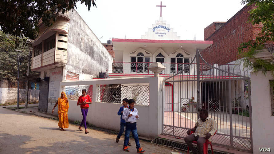 The Full Gospel Church in Basaratpur, Gorakhpur, Uttar Pradesh, which in December 2016 was attacked by Hindu Yuva Vahini (HYV) or the Hindu Youth Force, a group led by Yogi Adityanath. (M. Hussain/VOA)