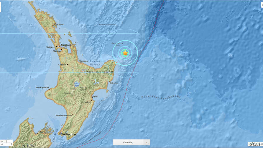 A USGS National Earthquake Information Center map that shows seismic activity around the area off the coast of New Zealand where a powerful earthquake struck Friday.