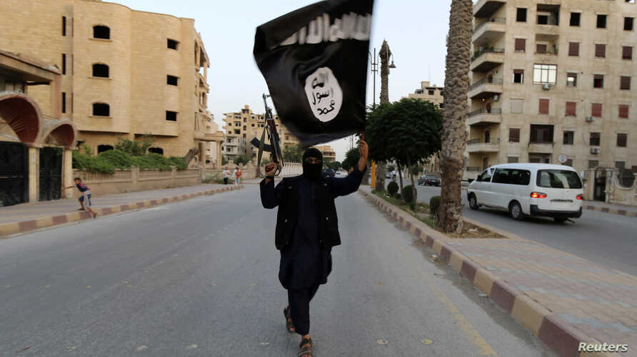 A militant loyal to the Islamic State in Iraq and the Levant (ISIL) waves an ISIL flag in Raqqa, Syria, June 29, 2014.