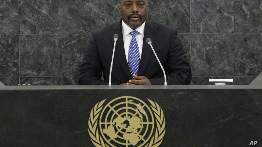 FILE - Joseph Kabila Kabange, President of the Democratic Republic of the Congo, speaks during the UN General Assembly.