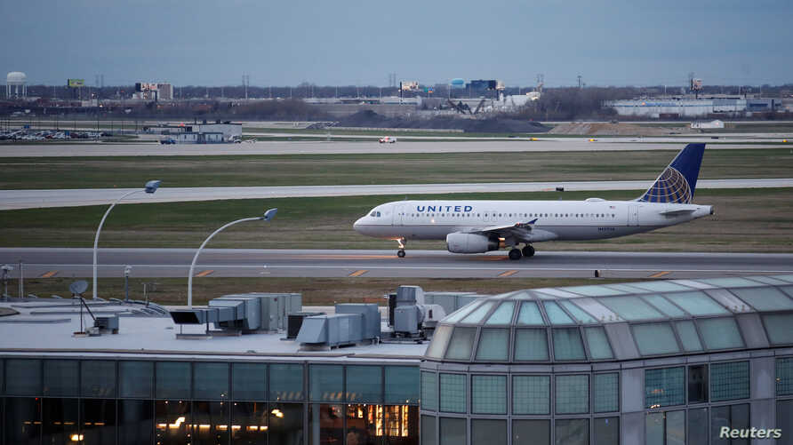 A United Airlines plane lands at O'Hare International Airport in Chicago, Illinois, April 11, 2017.