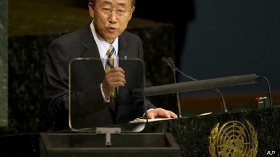 United Nations Secretary General Ban Ki-moon delivers his address at the Millennium Development Goals Summit at the United Nations in New York, 20 Sep 2010
