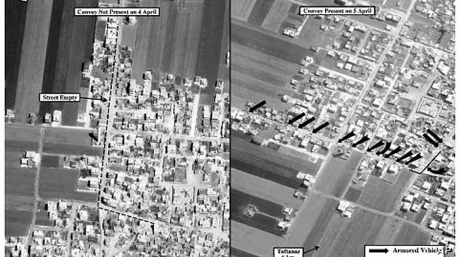 This satellite image posted on the U.S. Embassy Damascus Facebook page Saturday, April 7, 2012, shows the presence of a military convoy in Zirdana, Syria on April 5, right, next to imagery of the same area on April 4, showing no military convoy, acco