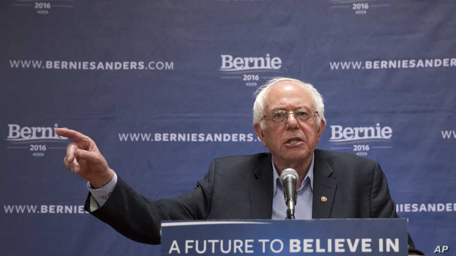 Democratic presidential candidate Sen. Bernie Sanders of Vermont speaks to reporters after a campaign event, in the Queens borough of New York, April 9, 2016.