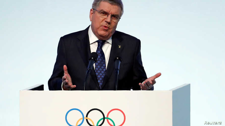IOC President Thomas Bach speaks during the 132nd IOC Session ahead of the 2018 Winter Olympic Games in Gangneung, South Korea, Feb. 5, 2018.