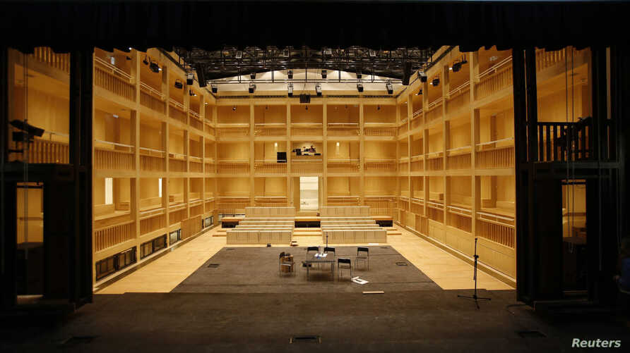 FILE - A general view shows the interior of the Gdansk Shakespeare Theatre. The new Elizabethan-style theater opened in Gdansk earlier this month on the site of a building that showed Shakespeare's plays during his lifetime in the Baltic Sea city.