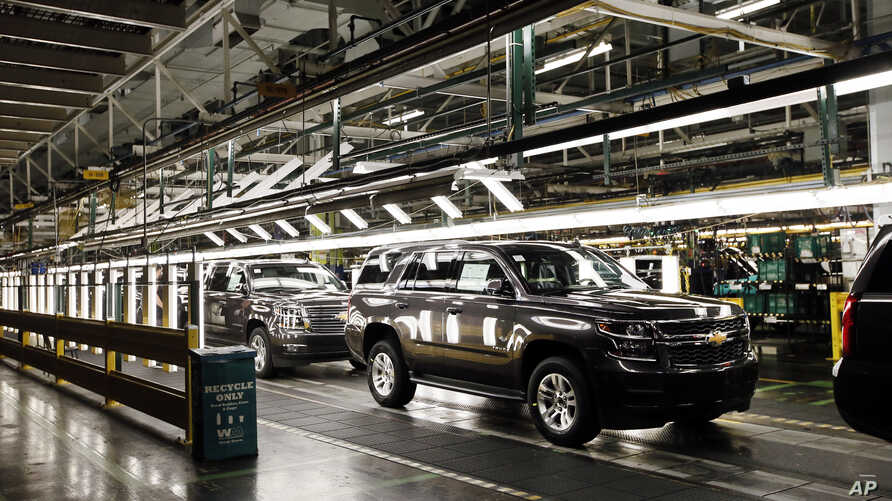 SUV'S near the final process on the assembly line at the General Motors plant in Arlington, Texas, July 14, 2015.