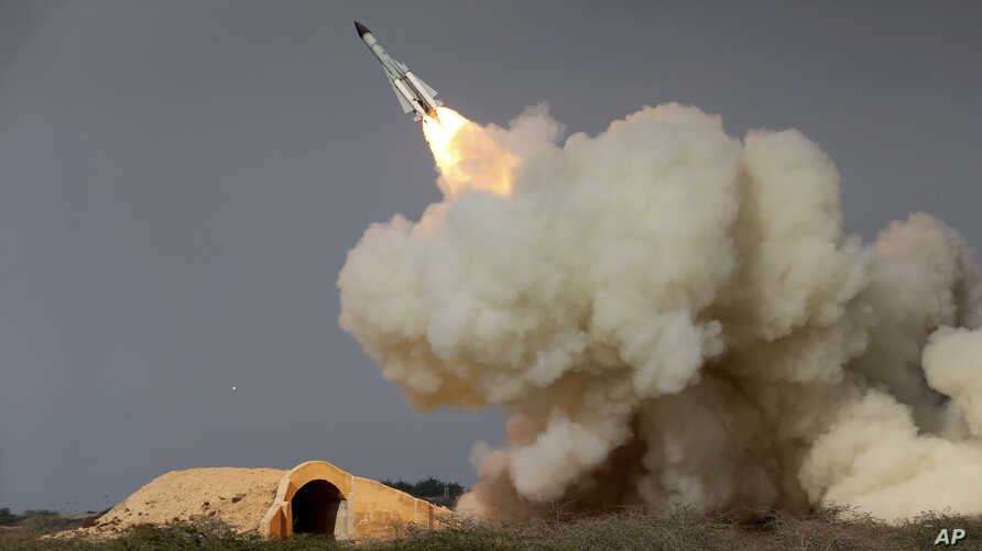 A long-range S-200 missile is fired in a military drill in the port city of Bushehr, on the northern coast of Persian Gulf, Iran, Dec. 29, 2016. Tehran has been increasing its military expenditures in recent years and plan to develop the country's lo