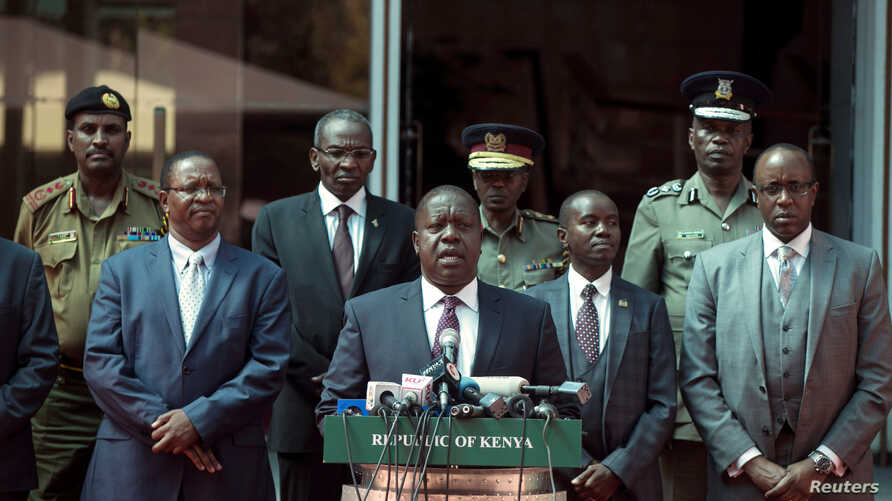 Kenya's interior minister Fred Matiang'i speaks during a press conference in Nairobi, Jan. 31, 2018.
