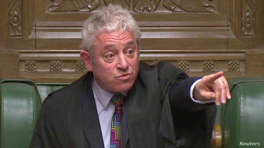 Speaker of the House John Bercow is seen after the vote on British Prime Minister Theresa May's Brexit deal, in London, Britain, Jan. 15, 2019 in this image taken from video.