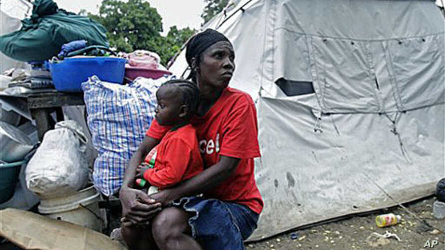 A woman displaced by the Jan 12, 2010 earthquake in Haiti.