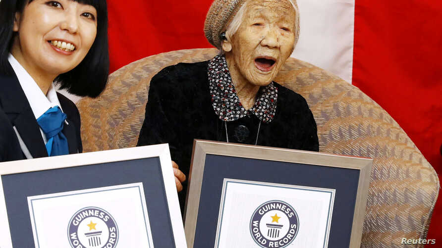 Kane Tanaka, 116 years old, celebrates during a ceremony to recognise her as the world's oldest person living and world's oldest woman living by the Guinness World Records in Fukuoka, Japan March 9, 2019.