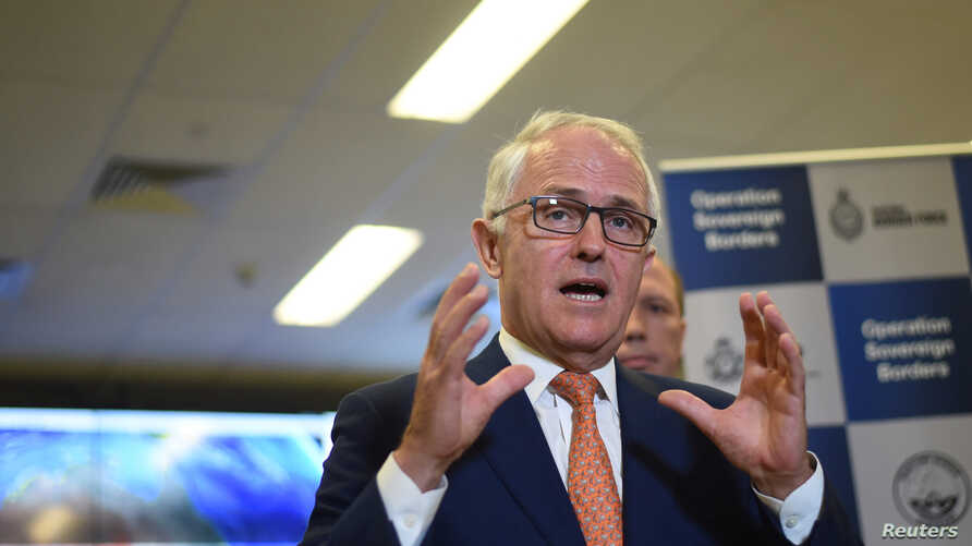 Australia's Prime Minister Malcolm Turnbull speaks to the media after a tour of the Australian Maritime Border Command Centre in Canberra, Nov. 13, 2016.