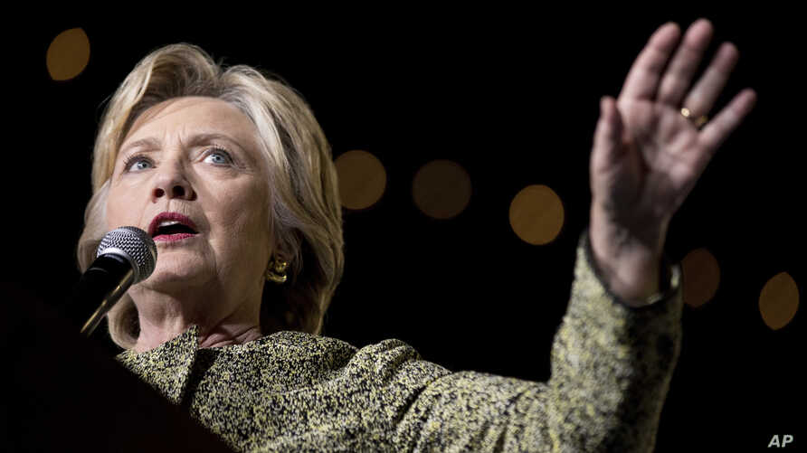 Democratic presidential candidate Hillary Clinton speaks at a rally at the Smith Center for the Performing Arts in Las Vegas, Oct. 12, 2016.