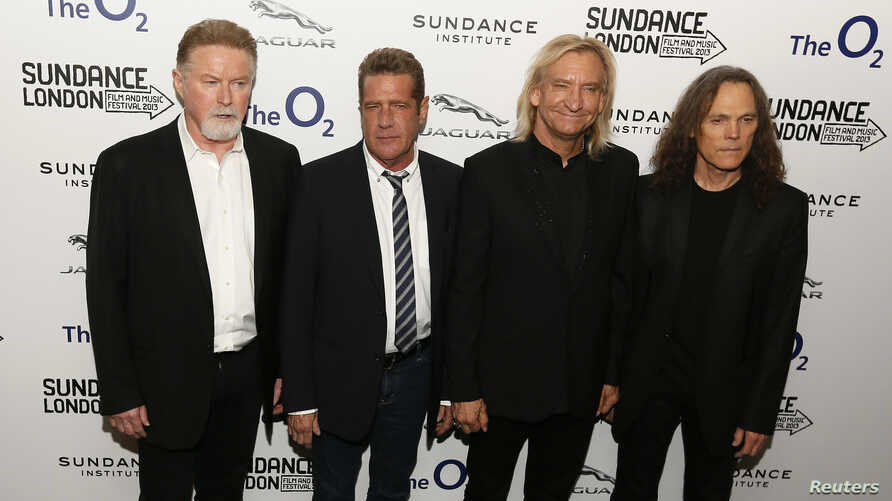 """Members of the band The Eagles (L - R) Don Henley, Glenn Frey, Joe Walsh and Timothy B. Schmit attend the premiere of the film """"History of the Eagles Part One"""" during Sundance London, at the O2 Arena in London, April 25, 2013."""
