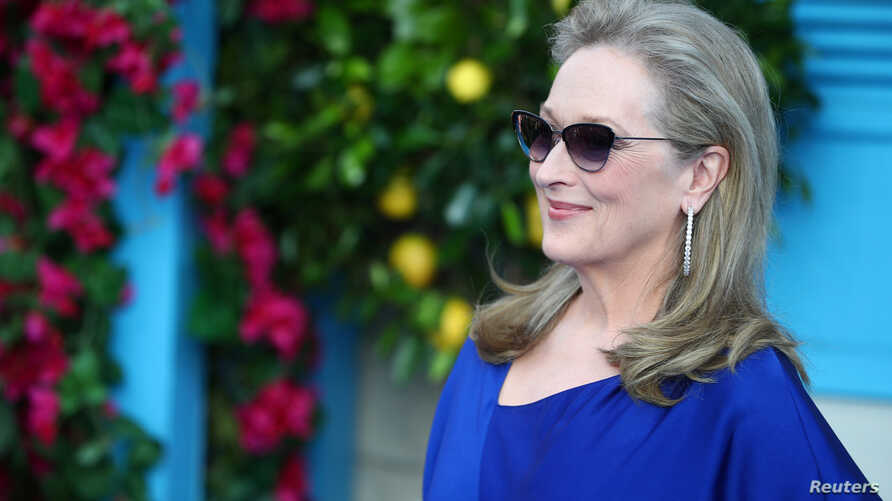 Meryl Streep attends the world premiere of Mamma Mia! Here We Go Again at the Apollo in Hammersmith, London, Britain, July 16, 2018.