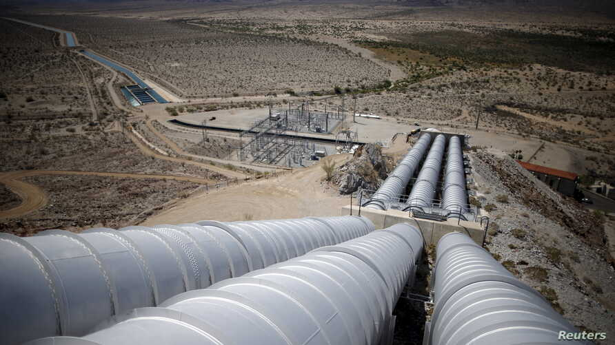 The Hinds pumping plant, last of five major pumping stations along the Colorado River Aqueduct, in Hayfield Lake, California, May 18, 2015. The gravity system plant pumps water coming from Lake Havasu to the top of a hill, to supply Southern Californ