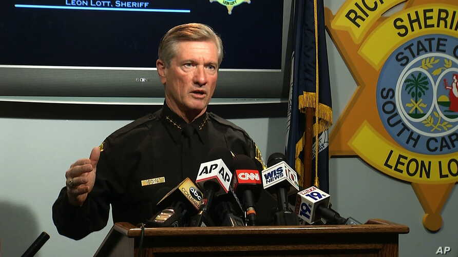 In this image taken from video, Richland County Sheriff Leon Lott speaks during a news conference regarding Deputy Ben Fields in Columbia, S.C., October 28, 2015.