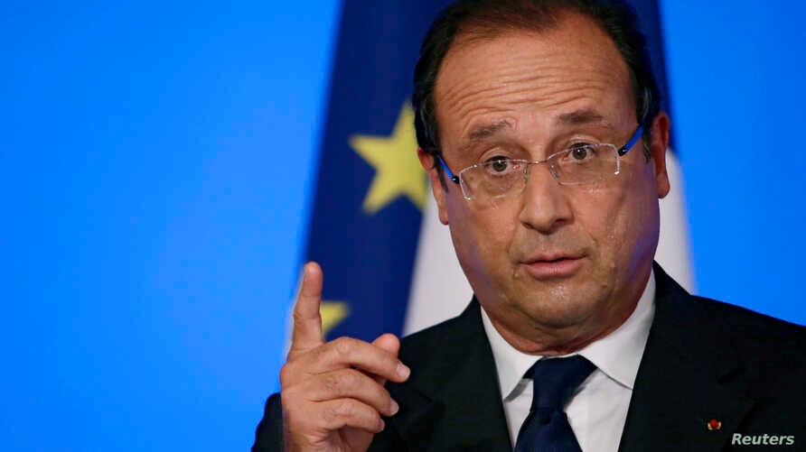 France's President Francois Hollande delivers a speech during the annual Conference of Ambassadors in Paris, Aug. 27, 2013.